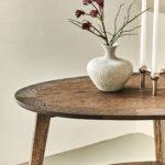 Heart Table, Sidebord med hylde og intarsia, i røget eg